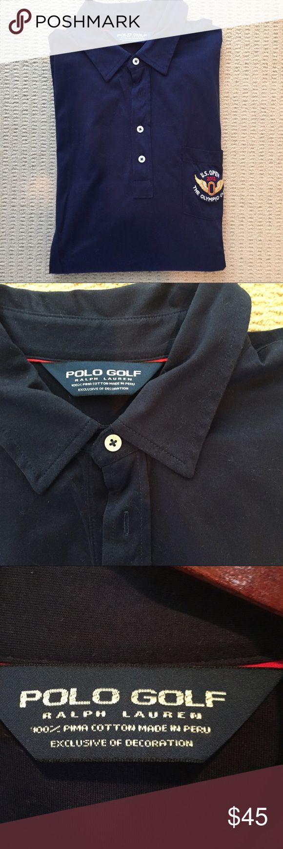 Black Ralph Lauren golf Polo shirt Black 100% cotton Ralph Lauren polo golf shirt in great condition with U.S. Open 2012 Olympic Club logo on pocket and sponsor logos on sleeves Polo by Ralph Lauren Shirts Polos