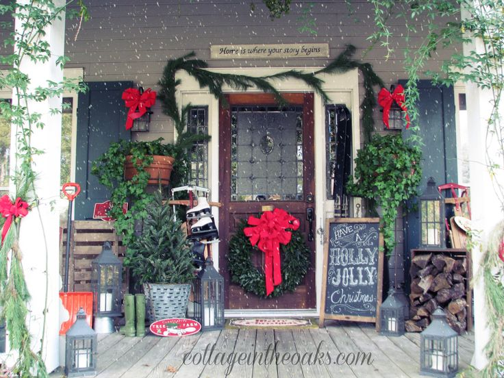 christmas cottage front porch
