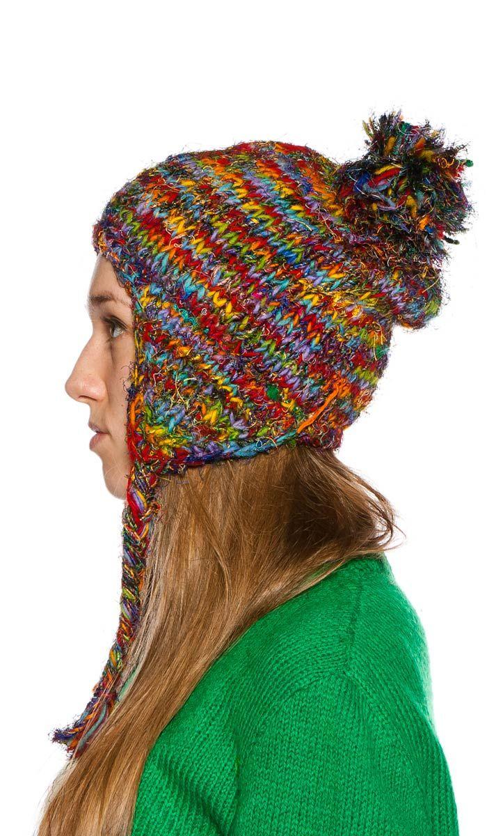 Шапка женская шерстяная, непальская шерсть, вязанная теплая шапка, индийская шапка, шапка из непальской шерсти, шапка с балабоном, Nepal Wool Cap, indian hat. 1070 рублей