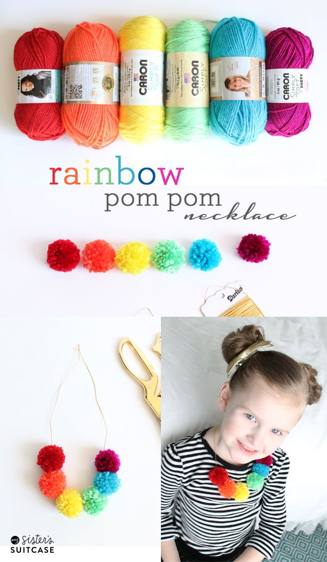 Rainbow pom pom necklace by @sisterssuitcase perfect for St. Patricks Day!