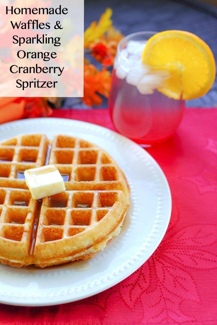 SimplySparkling Orange Cranberry Spritzer & Fluffy, Homemade Waffles ...