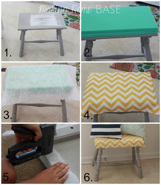 DIY Ottoman : DIY Footstool / Ottoman DIY Furniture (Also maybe use this on my big boring bench?)