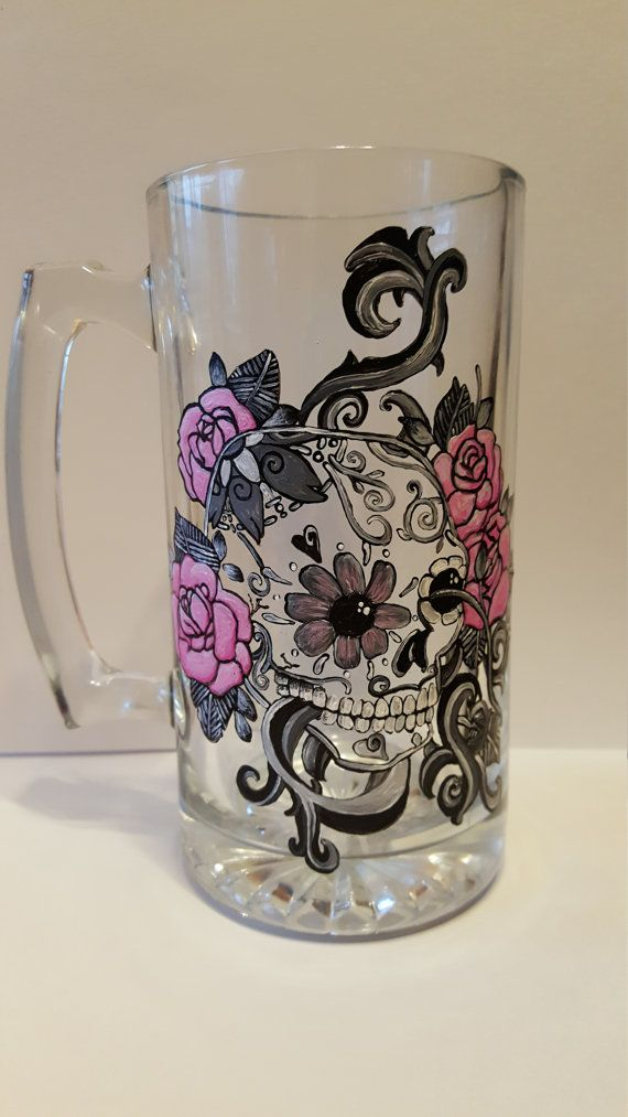 Sugar Skull, Sugar Skull Painting, Sugar Skull Art, Sugar Skull Design, Day Of The Dead, custom Artwork, Sugar Skulls, Unique Art, Beer Mug
