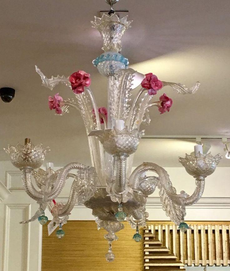 Superb Antique Venetian Glass 5 Lite Chandelier  #Venetian