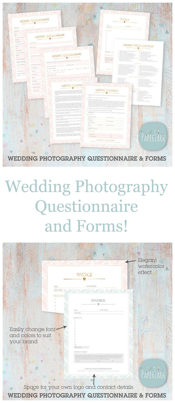 Start your business off looking professional! Wedding Photography Questionnaire and Forms. Wedding Photography Questionnaire, Contract and Business Forms Photoshop Template. #ad