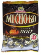 This half soft caramel, half dark chocolate candy is a French classic (created in 1936) that few can resist.  Michokos are made by La Pie Qui Chante (litterally, the Singing Magpie), one of the most popular French candy brands #France #French