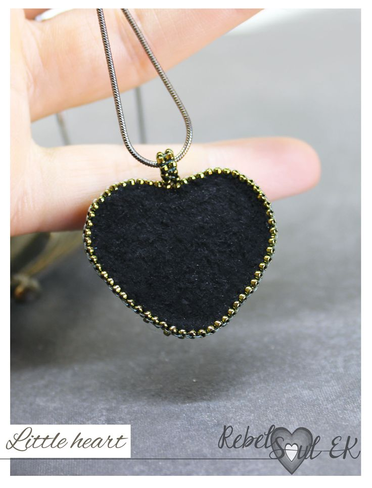 Crystal heart charm pendant, seed beads pendant, black heart jewelry, love jewelry, romantic gift for wife, embroidered pendant, rebelsoulek