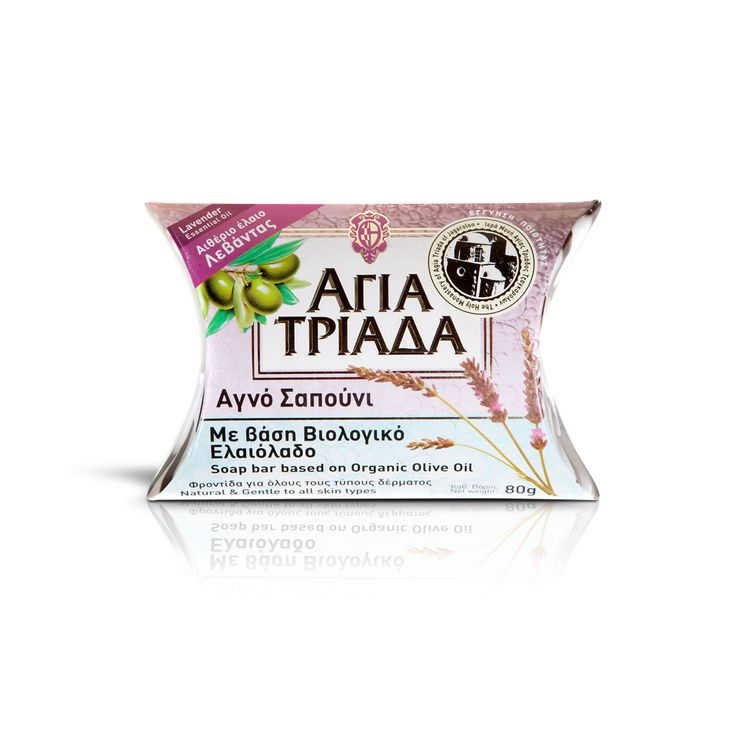 Olive Oil soap with vegetable oils, herbs, fruits and essential oil of lavender. Offers hydration and it is suitable for all skin types. Made at the Agia Triada Monastery of the Greek Orthodoxy. / Σαπούνι ελαιολάδου με φυτικά έλαια, βότανα, καρπούς και αιθέριο έλαιο λεβάντας. Προσφέρει ενυδάτωση και είναι κατάλληλο για όλους τους τύπους δέρματος. Μοναστηριακό προϊόν από την Ιερά Μονή Αγίας Τριάδος στην Κρήτη.