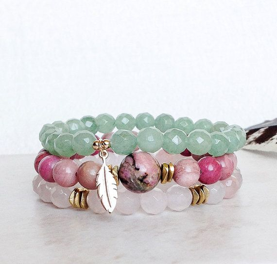 Warrior of the Heart Stack - Rose Quartz Bracelet, Rhodonite Bracelet, Green Aventurine Bracelet, Yoga Jewelry, Yoga Inspired