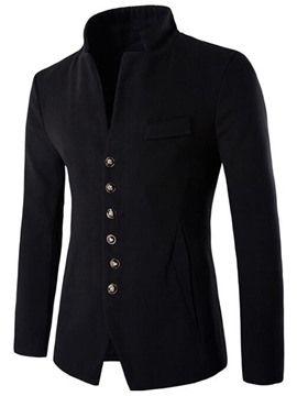 Ericdress Vogue V-Neck egysoros Slim Férfi gyapjú kabát