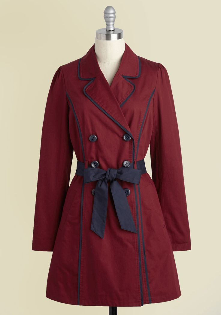East Coast Tour Trench in Burgundy. Feel like the Maine attraction as you cruise down the coast in this retro trench. #red #modcloth
