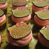 Hello Kitty Leopard Cupcakes.