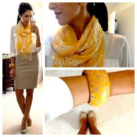 White button-up shirt, nude pumps, khaki / beige pencil skirt, yellow scarf and chunky bracelet  -- work / professional outfit