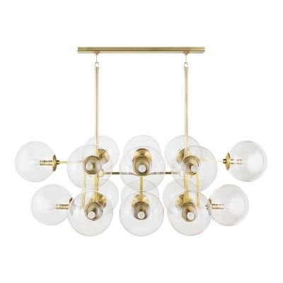 Rowan Linear Chandelier Antique Brass Dining Room