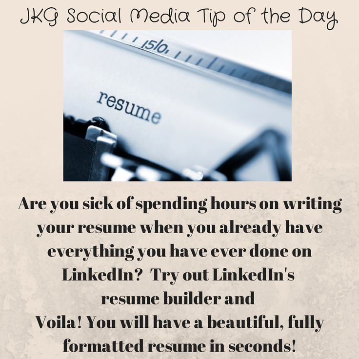 105 best JKG Social Media Tips images on Pinterest Social media - linkedin resume generator