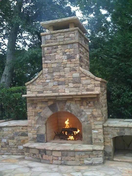 Ashlar Flagstone Dry Stack Fireplace, Wall, Mosaic - Fire Pit Patio Set