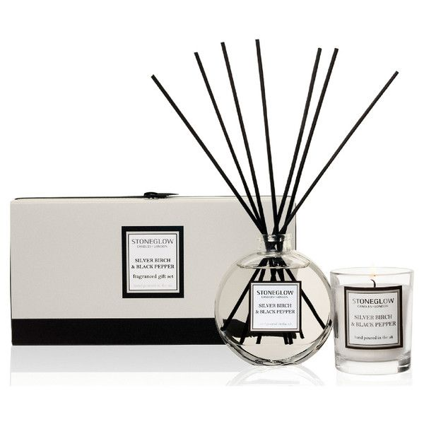 Stoneglow Silver Birch and Black Pepper Candle and Reed Gift Set ($27) ❤ liked on Polyvore featuring home, home decor, candles & candleholders, scented votives, scented candles, fragrance candles, rosemary scented candles and contemporary home decor