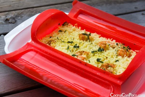 Arroz con curry y gambas - Vaporera Lekue - Receta al Vapor