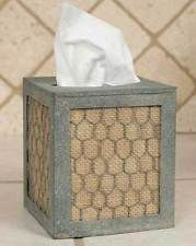 Farmhouse/Cottage/Primitive Vertical Tissue Holder with Chicken Wire and Burlap