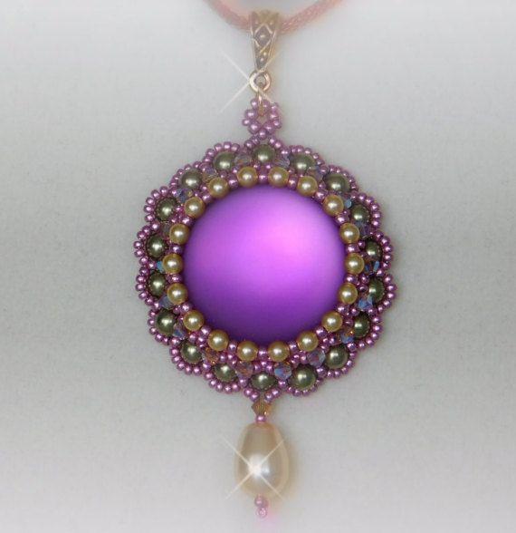 Bead / Pendant / Jewelry / Tutorial / Pattern / Instructions / Beadweaving / Necklace / Beaded / Lunasoft / Pearl / Swarovski / PDF