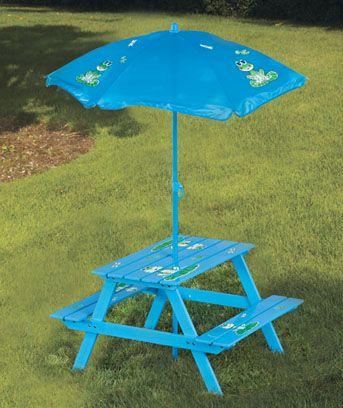 Kidsu0027 Picnic Table U0026 Umbrella
