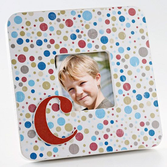 Monogram Picture Frame ~~ Cover a picture frame with patterned paper and a monogram to create a personalized gift. Basic polka dot paper and a single chipboard letter make this cute photo frame.