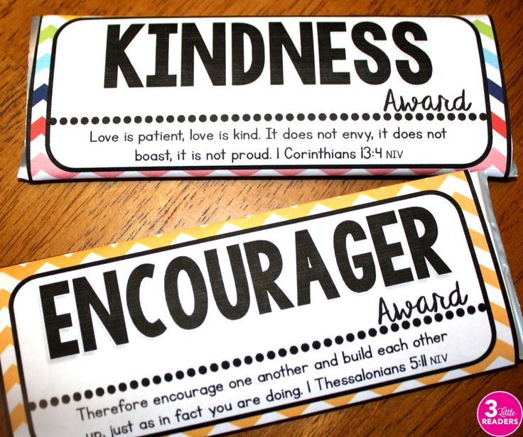 Character Candy Bar Awards with Scripture