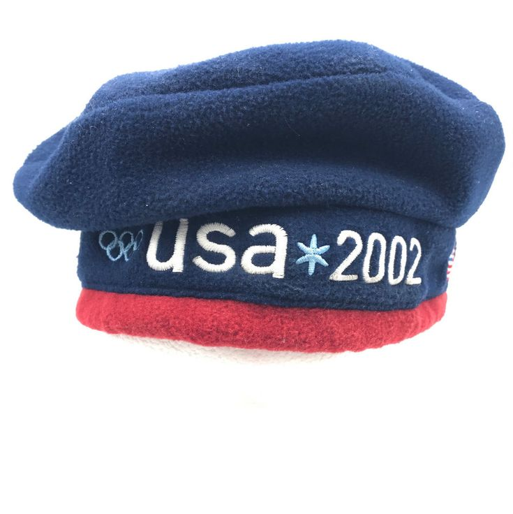 USA Olympics Roots Beret Red White Blue Adjustable Drawstring 2002 #Roots #USA