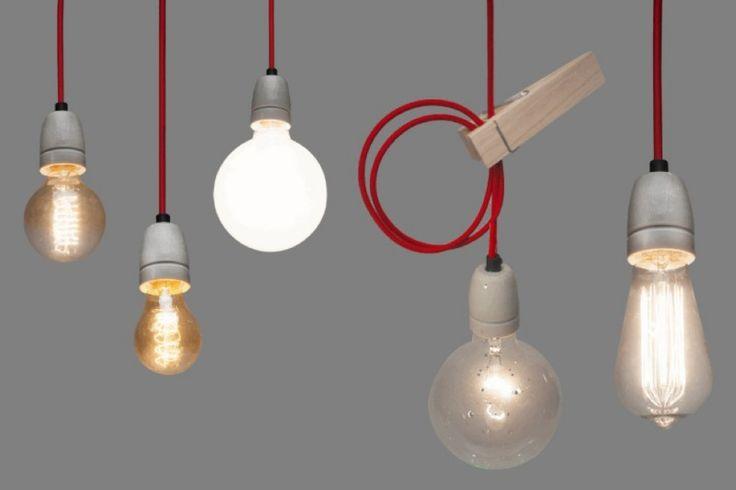 Strijkijzersnoer hanglamp - grijs