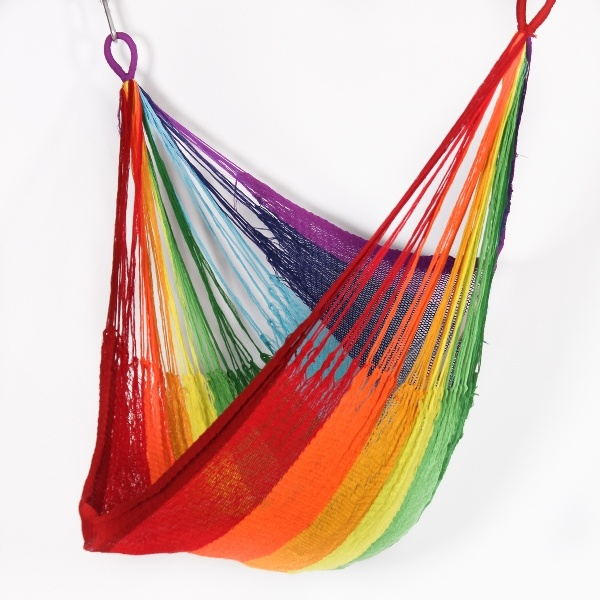 cloth dormitory item rainbow canvas furniture stripe hammock in portable hammocks individual outdoor canopy camping colour parachute swing from