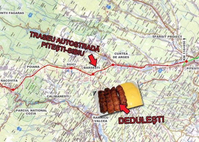 Trădare naţională! Traseul final al autostrăzii Sibiu-Piteşti ocoleşte tarabele cu mici din Deduleşti!
