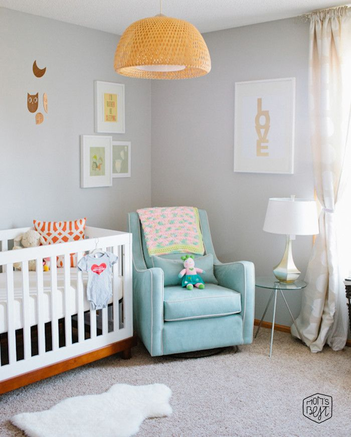 Sweet And Lovely Grey Baby Nursery Room Decorations Fascinating Design Idea With Light Blue Chair White Shade Table Lamp Also