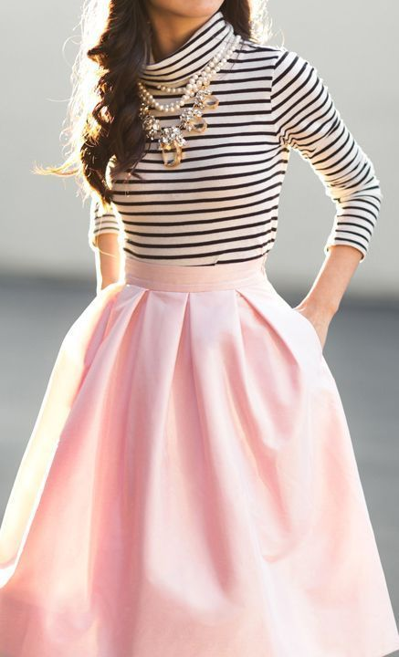 Striped top,pink midi skirt