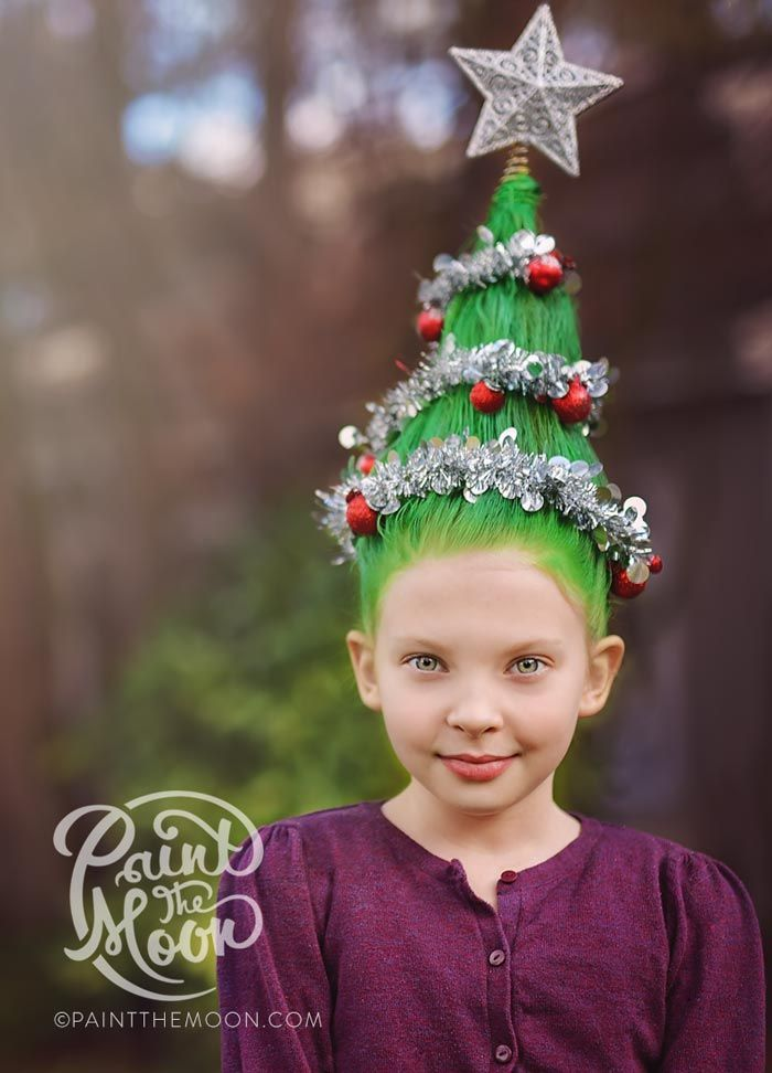 How to do Crazy Hair Day Christmas Tree style, step by step tutorial and ideas. By Paint the Moon Photography and Photoshop Actions. #christmashairtutorial #crazyhairdayhowto #paintthemoonphotoshopactions