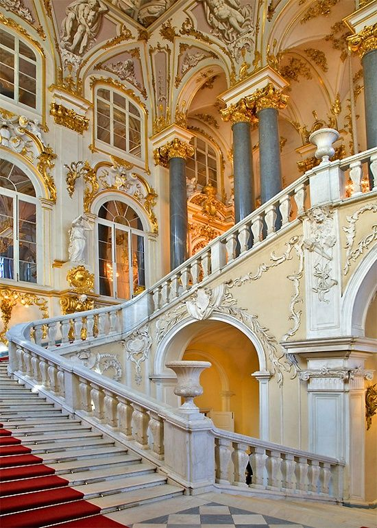 The Winter Palace, St. Petersburg.  We walked these stairs and 100s (felt like 1000s) more in 95 degree heat....hottest summer EVER in Russia, 2011.