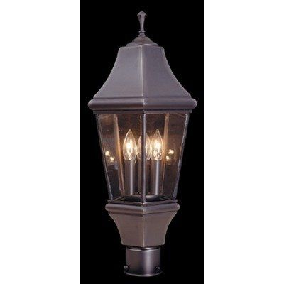 """Framburg 874 Set Normandy Outdoor Post Lantern by Framburg. $508.00. Framburg 874 Set Features: -Three light outdoor post mounted lantern. -Normandy collection. -Available in brushed nickel, harvest bronze, iron, raw copper and mahogany bronze finishes. -Made of heavy gauge brass. -Glass is bound together by hand. -Georgian style lantern. -Attach any post-mounted lantern to a flat surface. Specifications: -Accommodates: 3 x 40 W Candle clear bulbs. -Base dimensions: 7"""" H x 7"""" ..."""