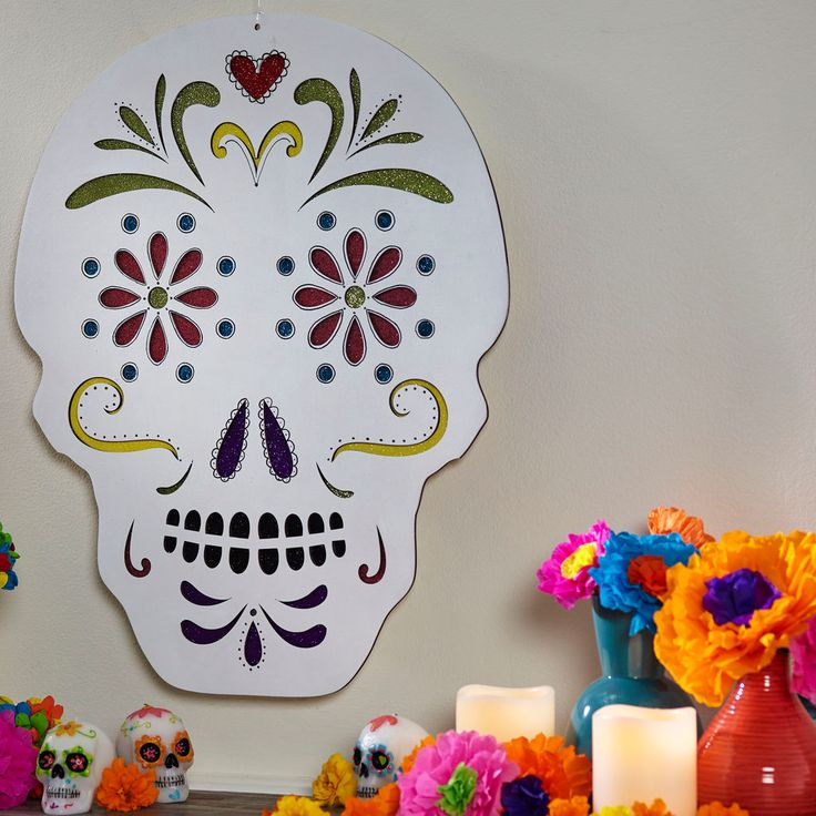 paint this colorful skull for halloween or dia de los muertos