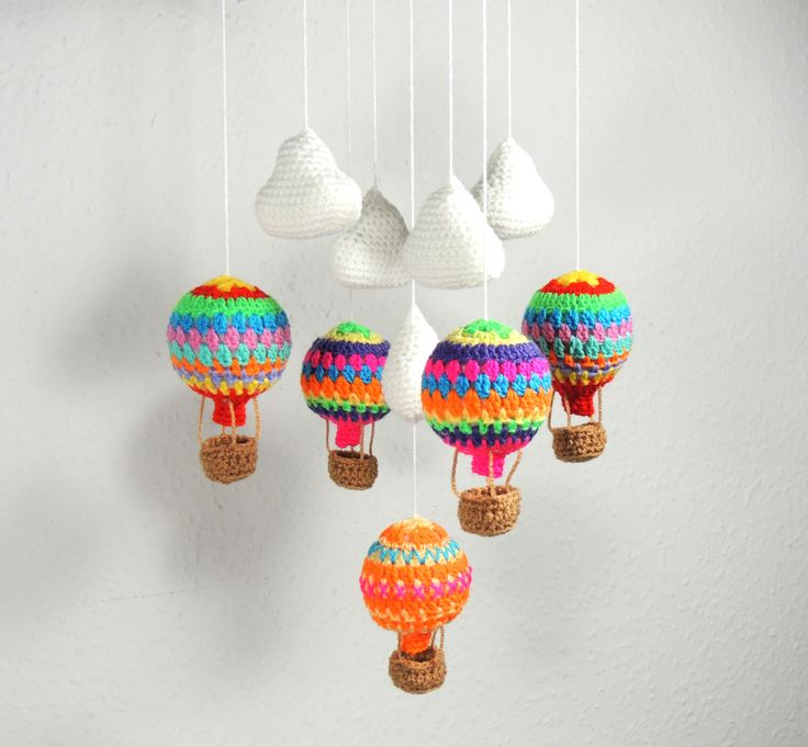 Baby Mobile Hot Air Balloon Baby Shower Gift Crochet Nursery Mobile by SimplyStitcheduk on Etsy https://www.etsy.com/listing/218993944/baby-mobile-hot-air-balloon-baby-shower