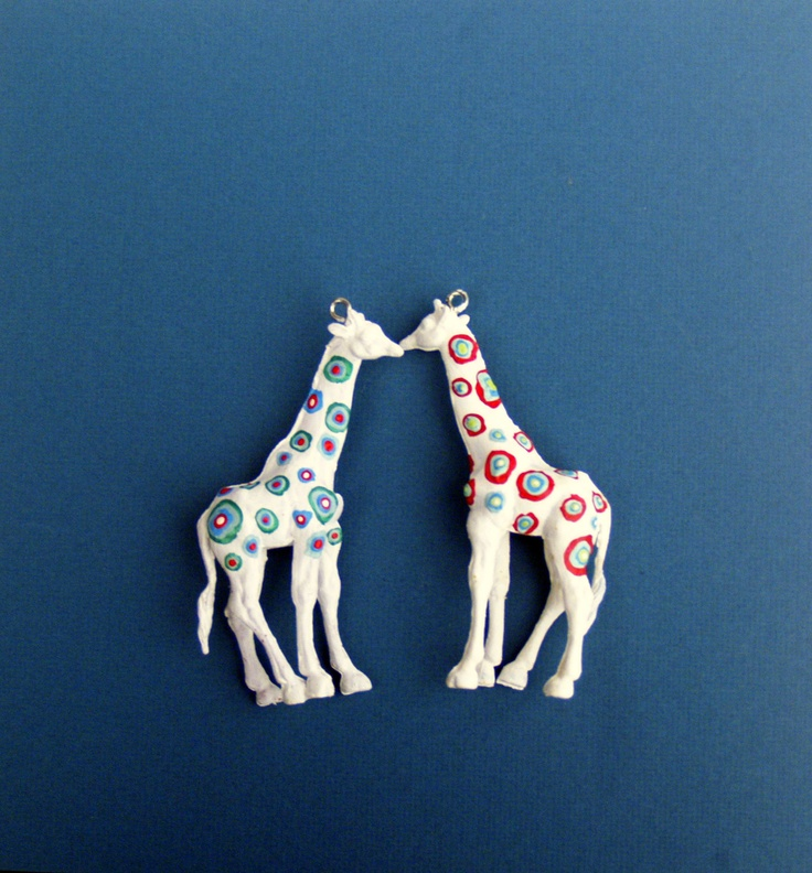 Easy to make : Unique Christmas Ornament, Red Green and White Spotted Giraffe, Recycled Toy Decoration. $23.00, via Etsy.