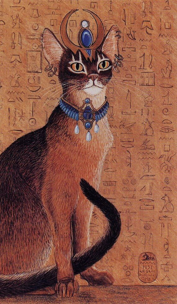 Egyptian Abysinnian Cat with Headdress Print of Original Painting in