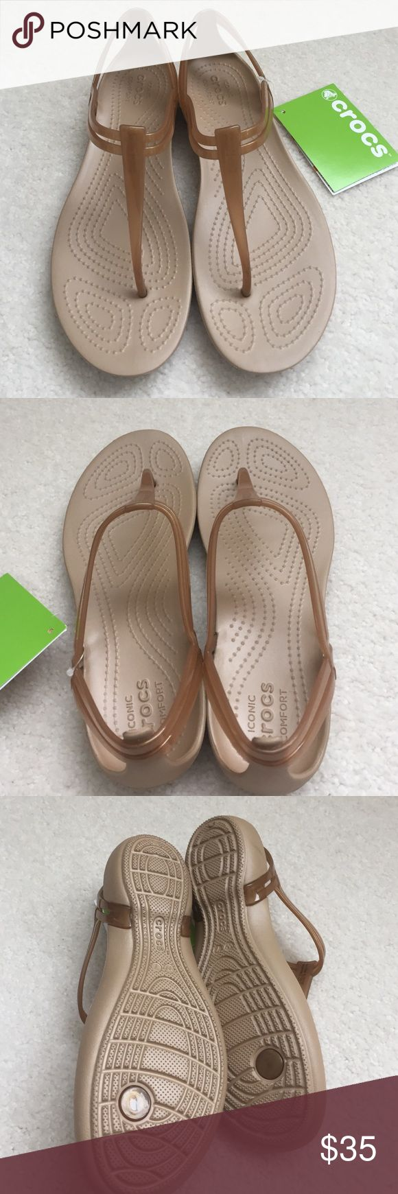 NWT Crocs T-Strap Bronze Comfy Sandals NWT T-Strap Bronze relaxed fit Crocs Sandals. Size: Woman 7. crocs Shoes Sandals
