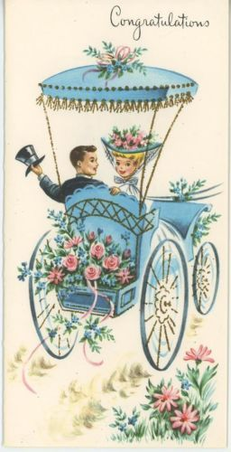 VINTAGE WEDDING BRIDE GROOM ROSES BLUE FLORAL BUGGY CONGRATULATIONS CARD PRINT