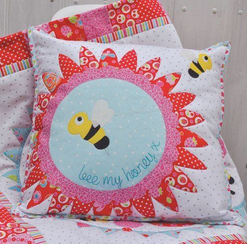 """""""Birds & Bees Quilt + Bee my Honey Cushion """" designed by Claire Turpin for Claire Turpin Designs."""