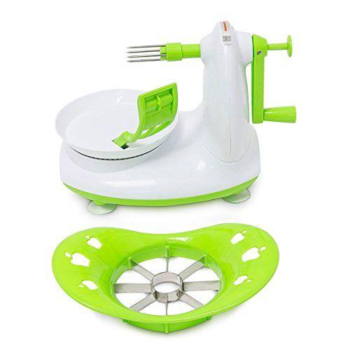 Relaxdays Apfelsch�ler mit Apfelschneider 2er Set aus Sch�lmaschine zum Apfel sch�len und Apfel zerkleinern sowie als Entkerner auch ideal zum Kartoffeln sch�len , gr�n-wei�