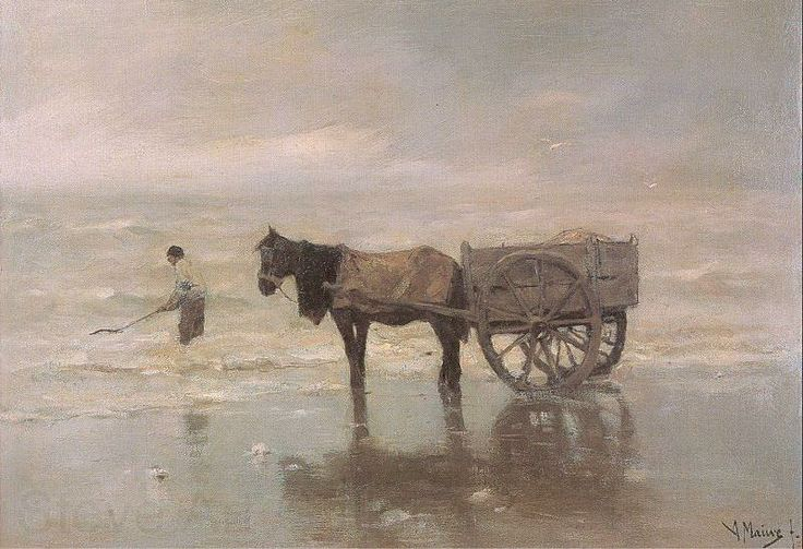 Anton MAUVE (1838-1888, Dutch painter): Gathering Seaweed
