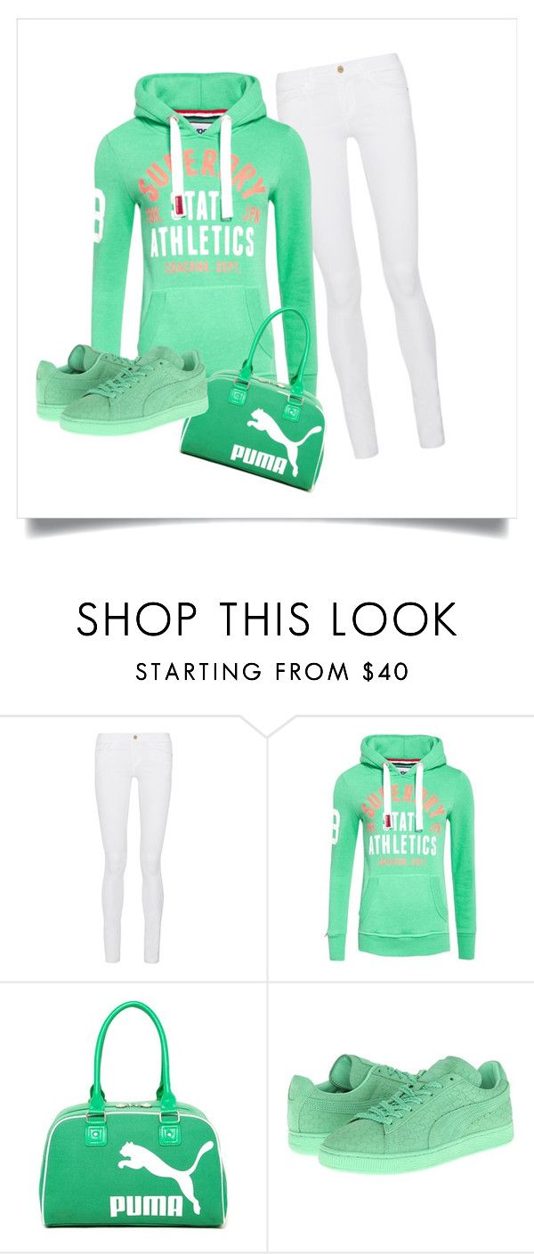 """""""a mint touch...."""" by ritty18 on Polyvore featuring Frame Denim, Superdry and Puma"""