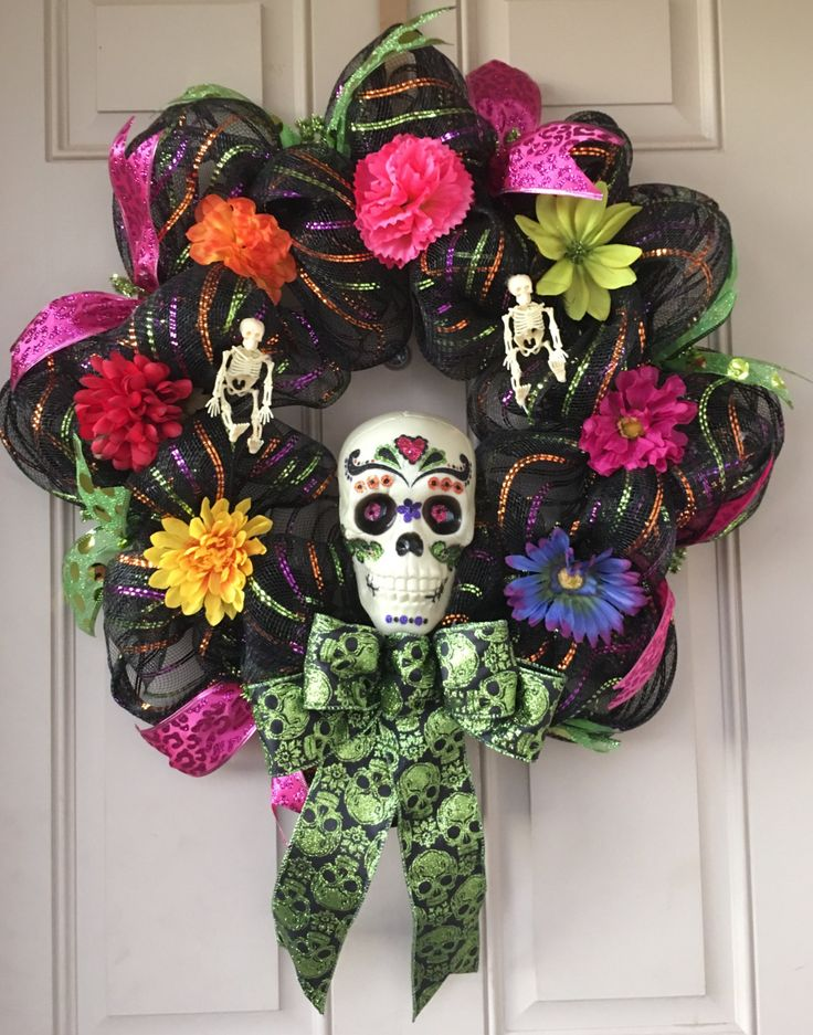 skulls wreath day of the dead dia de los muertos halloween decor my sugar skulls - Day Of The Dead Halloween Decorations