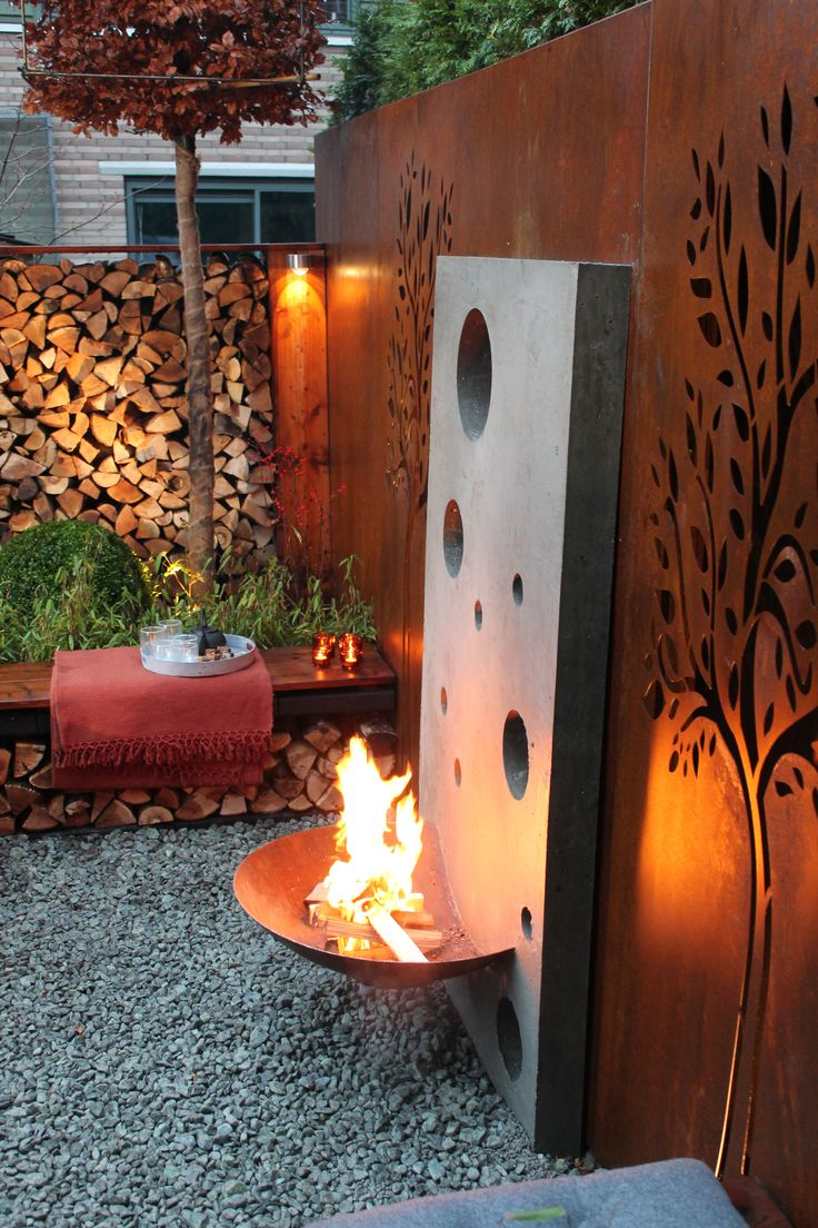 concrete + corten firepit, beautiful!