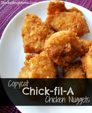 Copy cat Chic-Fil-A nuggets.  Tastes just like the real thing!  A huge money saver!  Must pin!