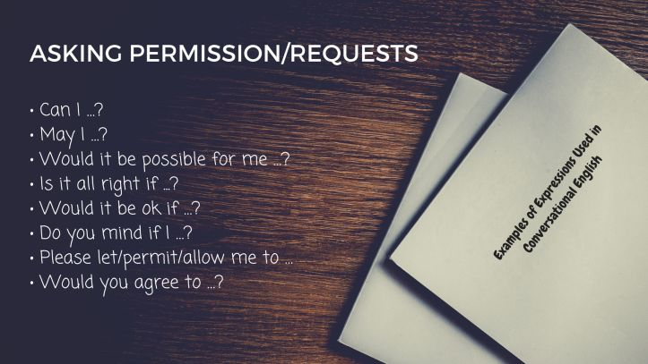 Examples of Expressions Used in Conversational English - ASKING PERMISSION/REQUESTS